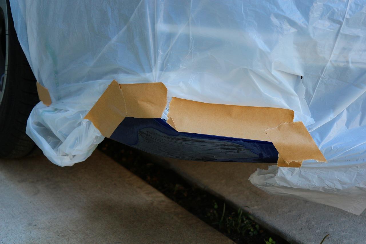 マスキング用品は、家庭用ゴミ袋とガムテープで代用
